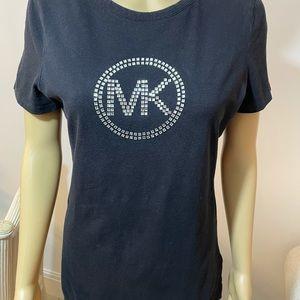 Michael Kors black Tee w/crystal logo Sz M